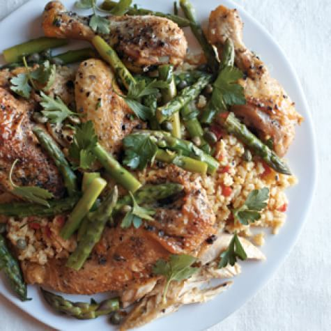 Chicken With Saffron Rice And Warm Asparagus Salad Williams Sonoma
