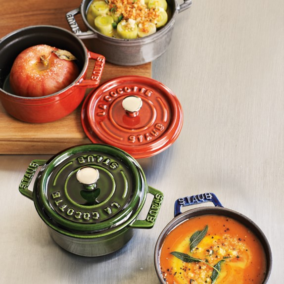Staub Cast Iron Mini Round Cocotte Set 1 4 Qt Williams Sonoma