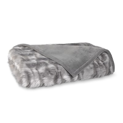 Grey Fox Faux Fur Throw Blanket Williams Sonoma