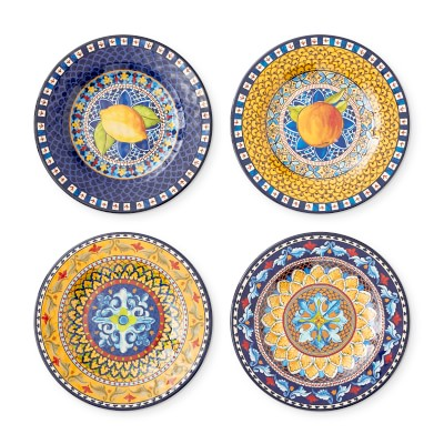 Sicily Outdoor Melamine Salad Plates, Set of 4, Mixed
