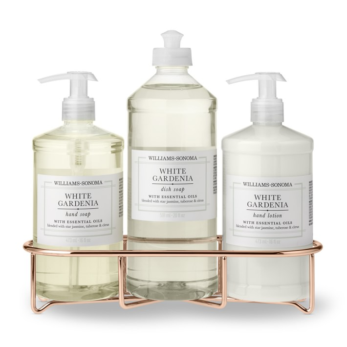 Williams Sonoma White Gardenia Hand Soap & Lotion, Classic 4-Piece Copper Set