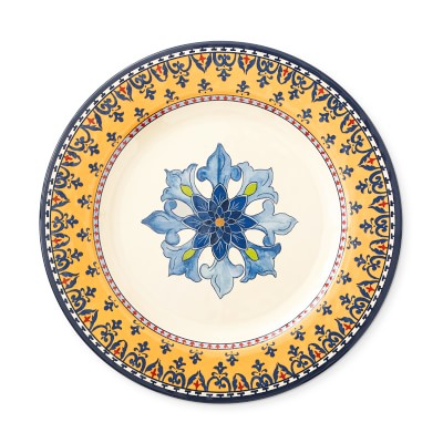 Sicily Outdoor Melamine Dinner Plates, Set of 4, Yellow