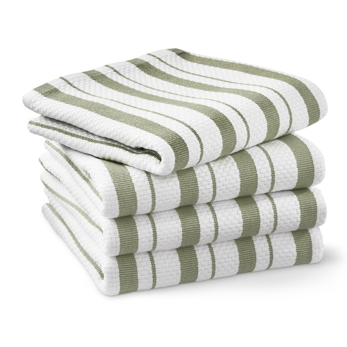 Williams Sonoma Classic Stripe Towels, Set of 4, Sage Green