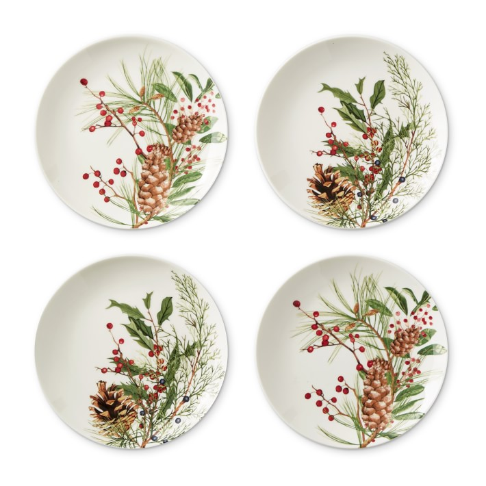 Woodland Berry Appetizer Plates, Set of 4, Mixed. #holidaydecor #christmas #plates