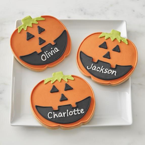 Giant Personalized Halloween Pumpkin Cookies Set Of 3 Gourmet Halloween Treats Williams Sonoma