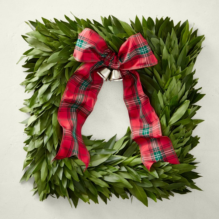 Bay Leaf Square Wreath with Tartan Ribbon