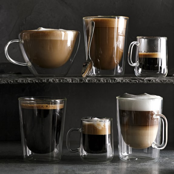 Double Wall Glass Latte Coffee Mugs Williams Sonoma