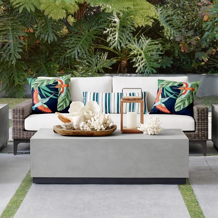 Lucca Concrete Outdoor Rectangle Coffee Table Patio Furniture Williams Sonoma