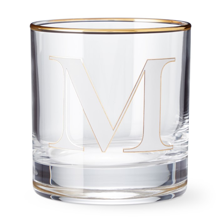 Monogram Double Old-Fashioned Glasses, Set of 4, M