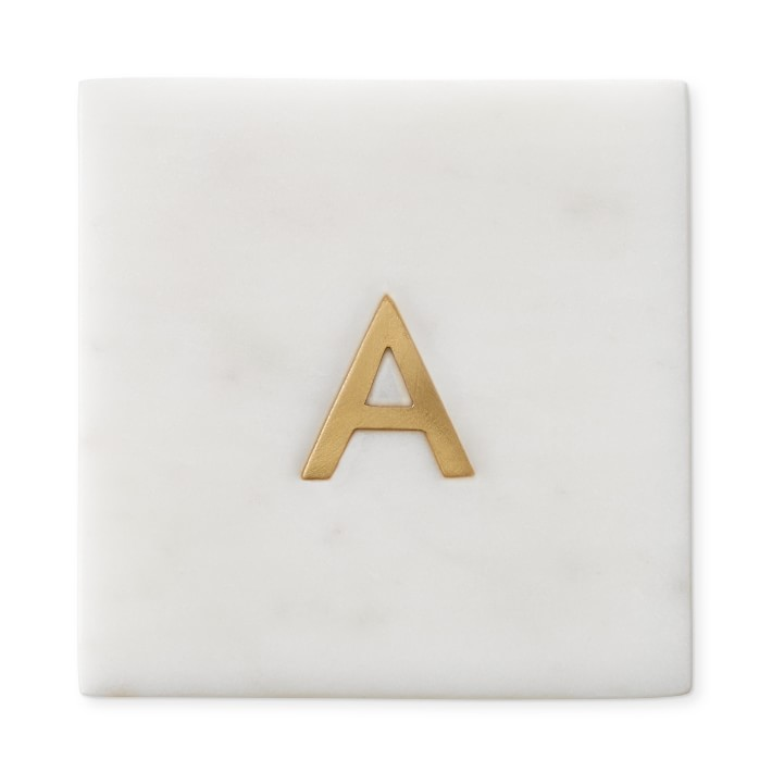 Shop Marble & Brass Monogram Coasters, Set of 4 from Williams-Sonoma on Openhaus