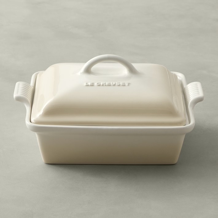 Le Creuset Stoneware Shallow Square Covered Baker, Meringue