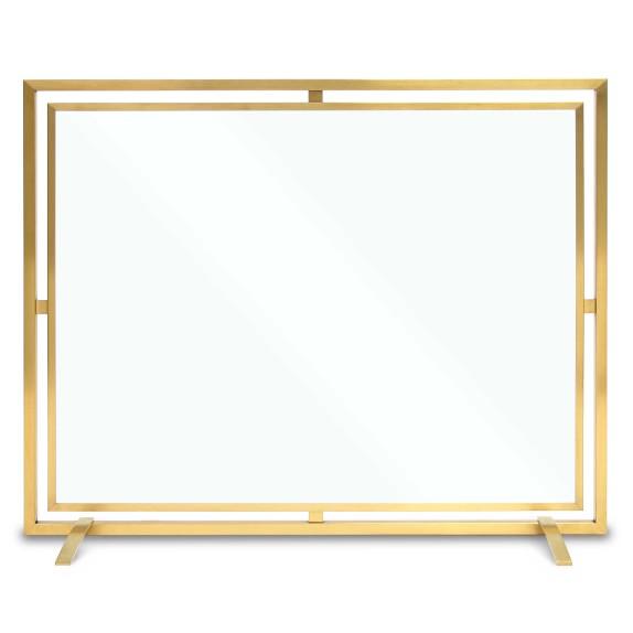 Floating Glass Single Panel Brass Fireplace Screen Williams Sonoma