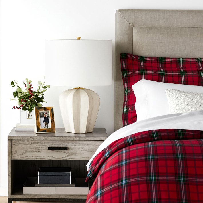 Tartan Flannel Duvet Cover & Shams, Red