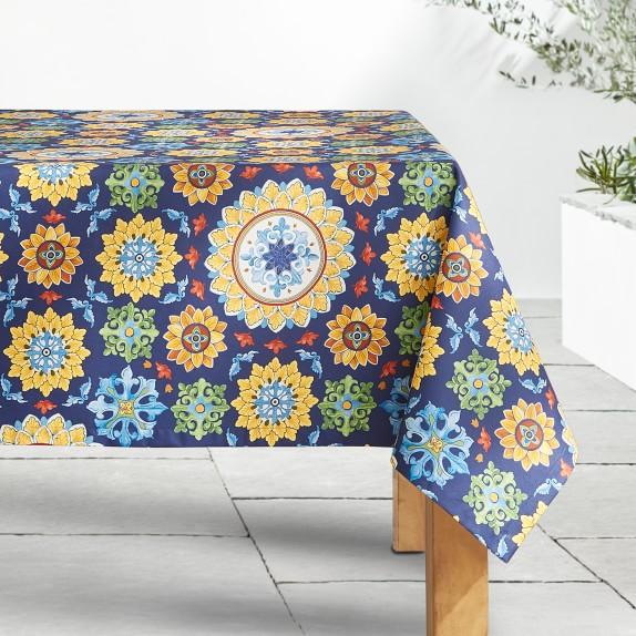 Sicilian Mosaic Oilcloth Outdoor Tablecloth Williams Sonoma