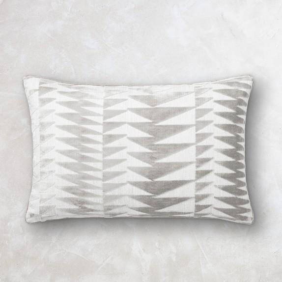 Grey Raine Velvet Jacquard Lumbar Pillow Williams Sonoma