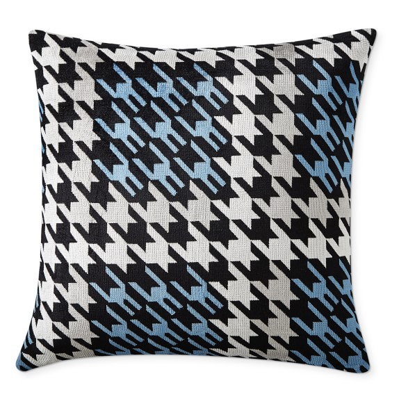 Blue Velvet Houndstooth Throw Pillow Williams Sonoma