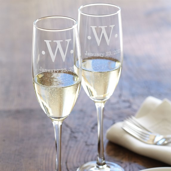 Personalized Engraved Champagne Toasting Glasses With Monogram Set of 2