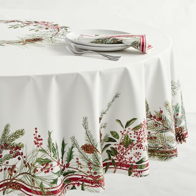Woodland Berry Round Tablecloth Williams Sonoma