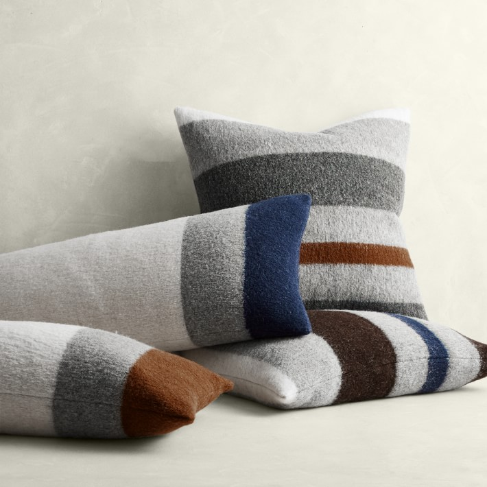 Italian Boiled Wool Striped Throw Pillow Williams Sonoma
