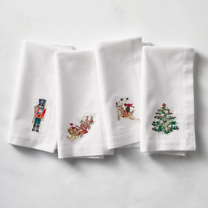 Twas The Night Before Christmas White Embroidered Cloth Napkins Set Of 4 Williams Sonoma