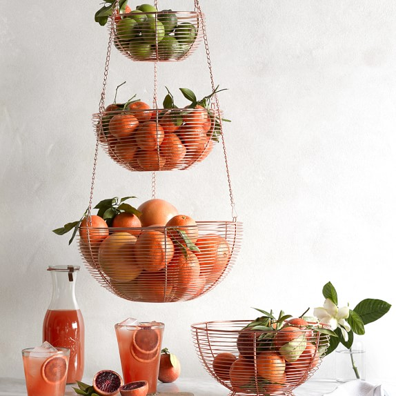 Hanging Wire 3 Tier Fruit Basket Kitchen Counter Organizers Williams Sonoma