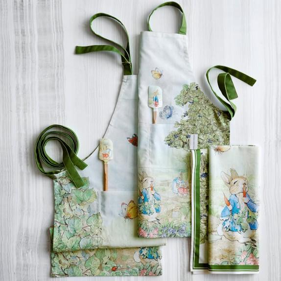 Williams sonoma SET 2 kitchen hand towel Peter Bunny rabbit pottery barn beatrix