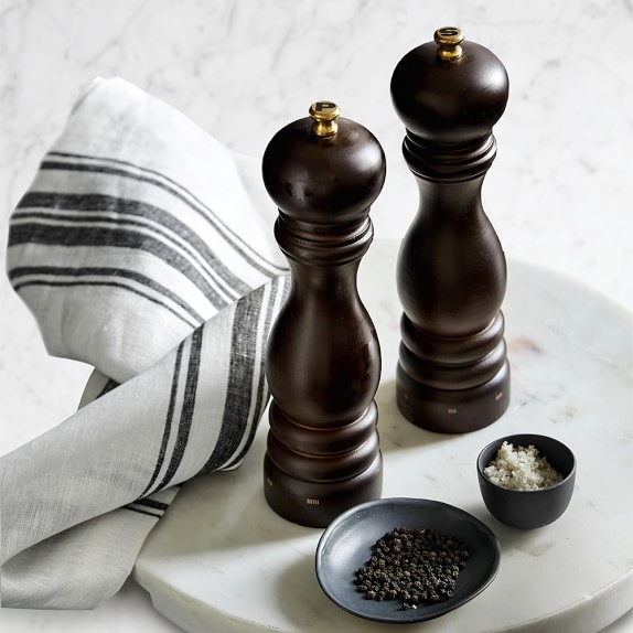 salt and pepper mills wedding gift Peppermills pair bbq basket black white gold gift for foodies