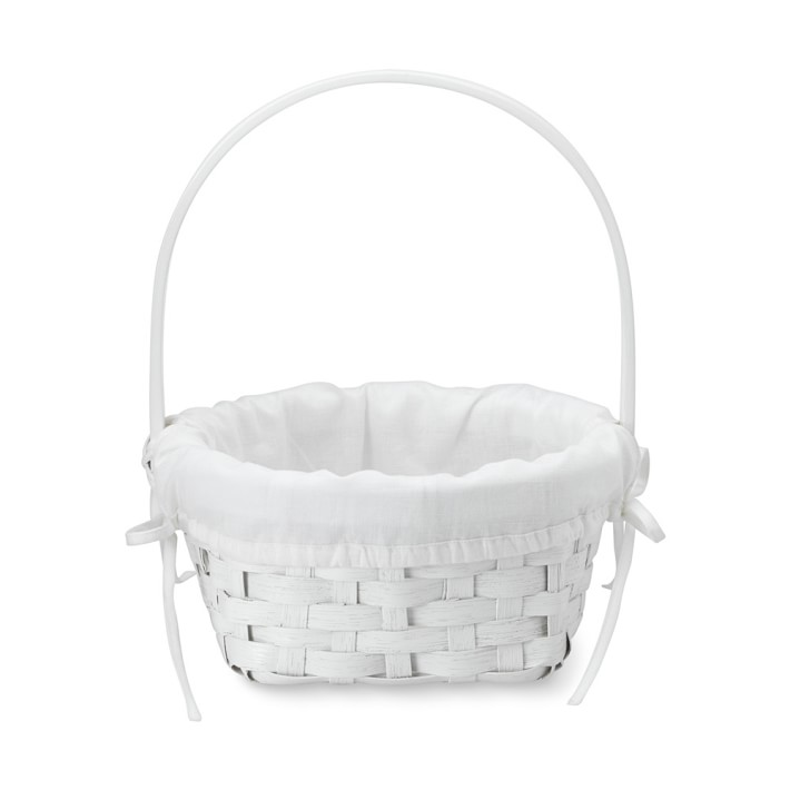 White Rattan Easter Basket With Liner Easter Decor Williams Sonoma