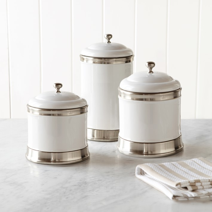 Williams Ceramic Canisters Set Of 3 Kitchen Counter Organizers Williams Sonoma