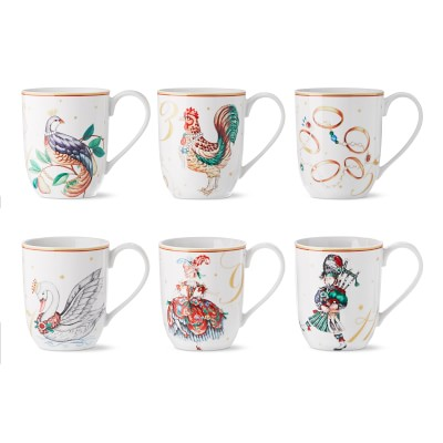 New Williams Sonoma Nordic Elf Set of 4 Mugs Plus Matching Spoons Christmas