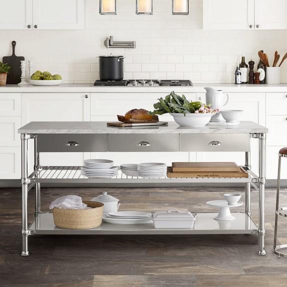 Modular Double Kitchen Island With Marble Top Williams Sonoma