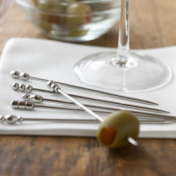 Set of 6 Stainless Steel Cocktail Picks with Gift Box New Item by The Cocktail Box Co