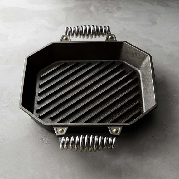 Pre-Seasoned with Organic Flaxseed Oil Modern Heirloom FINEX Handcrafted in The USA 12 Cast Iron Double-Handle Speed Cool Twin Spring Grill Pan