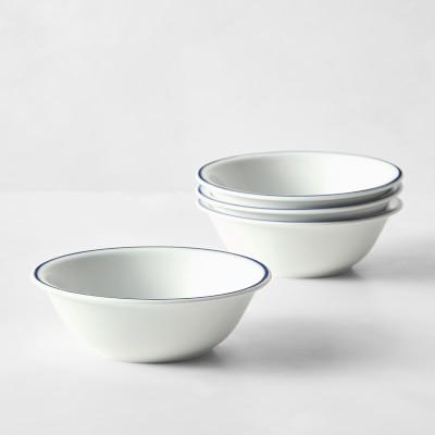 Apilco Tradition Porcelain Blue-Banded Cereal Bowls, Set of 4