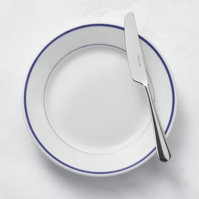 Apilco Tradition Porcelain Blue-Banded Bread Plates, Set of 4