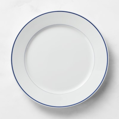 Apilco Tradition Porcelain Blue-Banded Dinner Plates, Set of 4