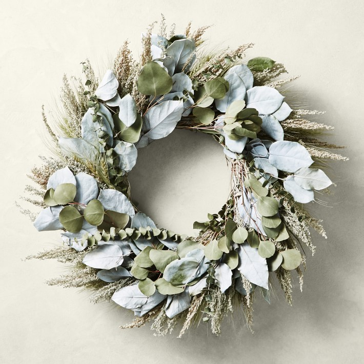 Painted Salal and Eucalyptus Wreath