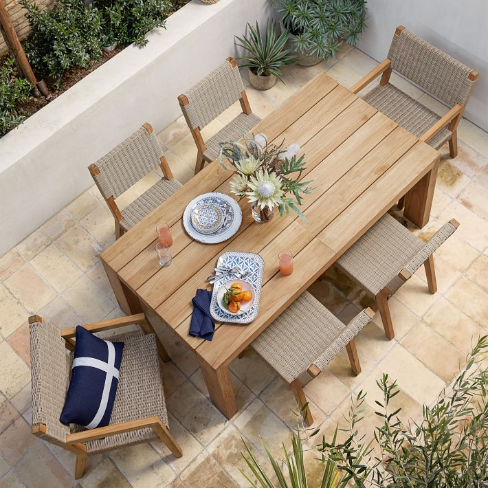 Bar Height Glass Table, Larnaca Teak Extendable Outdoor Dining Table Williams Sonoma