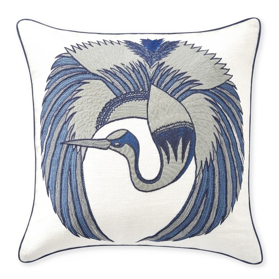 Blue Flying Crane Embroidered Throw Pillow Williams Sonoma