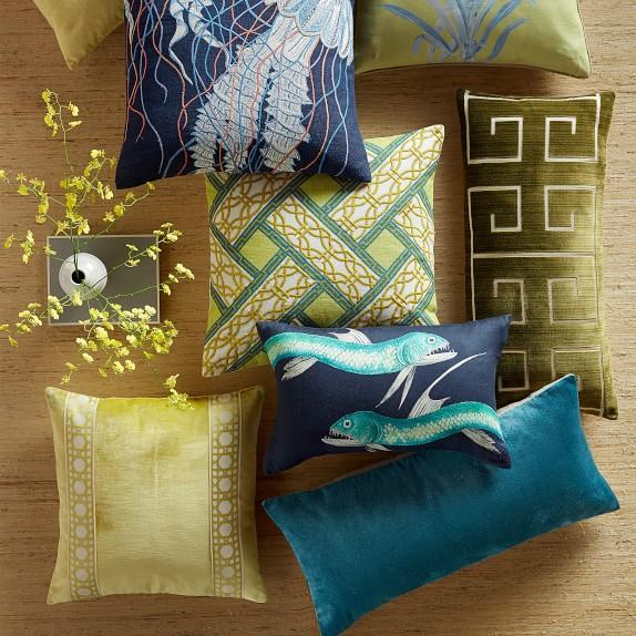 Navy Multi Jellyfish Embroidered Linen Throw Pillow Williams Sonoma