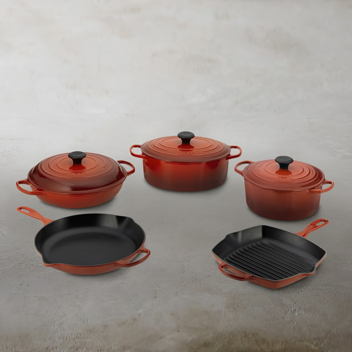 Le Creuset Signature Cast Iron 8 Piece Cookware Set With Square Grill Pan Williams Sonoma