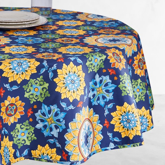 Sicilian Mosaic Oilcloth Outdoor Round Tablecloth 70 Williams Sonoma