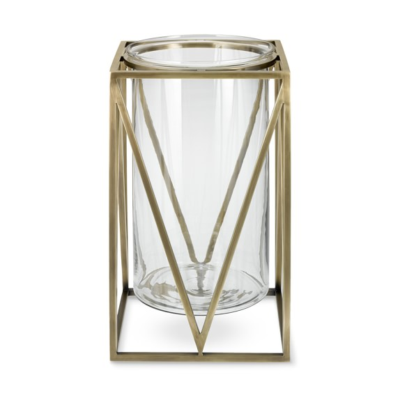 Floating Geo Antique Brass Hurricane Candle Holder Williams Sonoma