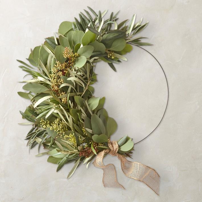 Eucalyptus and Olive Half Wreath