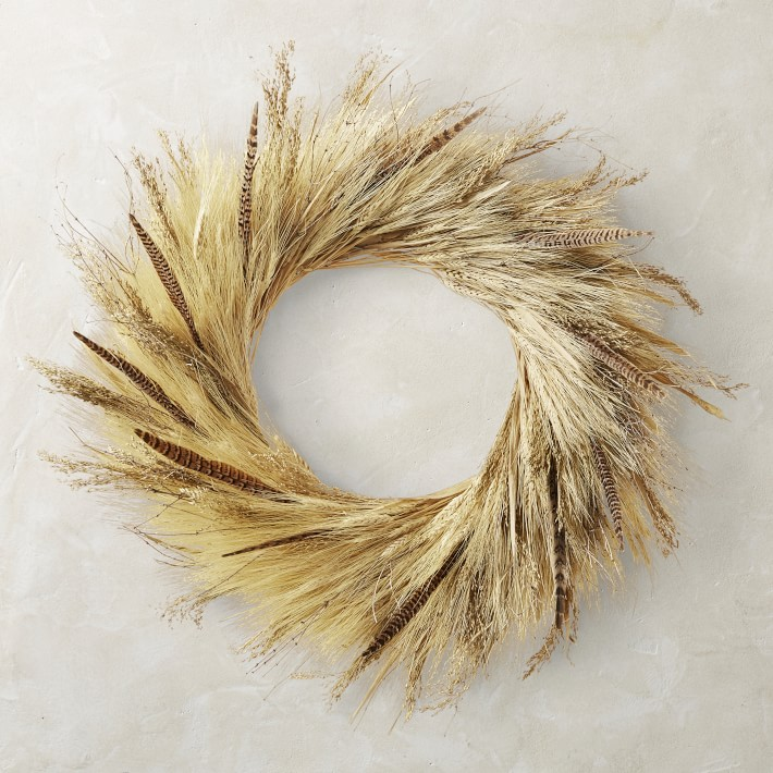 Corn Husk and Pheasant Feather Wreath, 30""