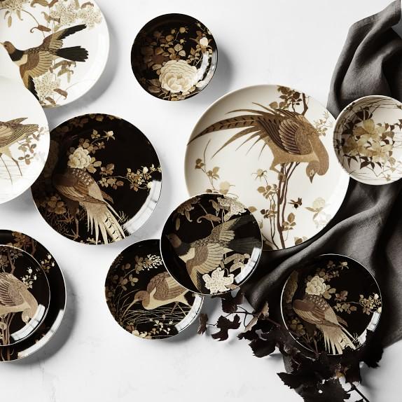 Set 4:Williams Sonoma Walden Dinner Plates-Nature,Pheasant-Inspired by Thoreau