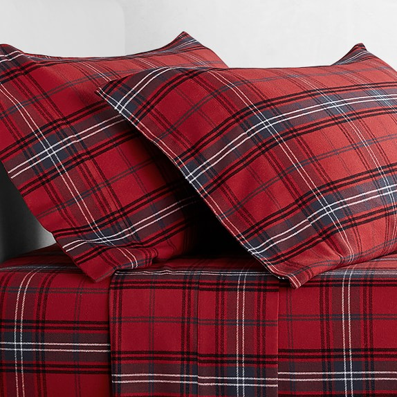 Red Tartan Flannel Sheet Set Williams Sonoma