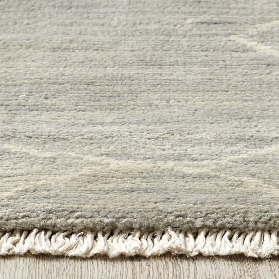 Mountain Fog Hand Knotted Grey Silk Rug Williams Sonoma