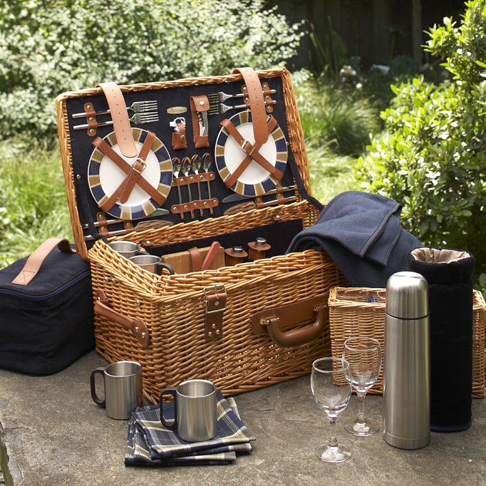 French Vintage suitcase picnic basket picnic hamper set with cups blanket and thermos