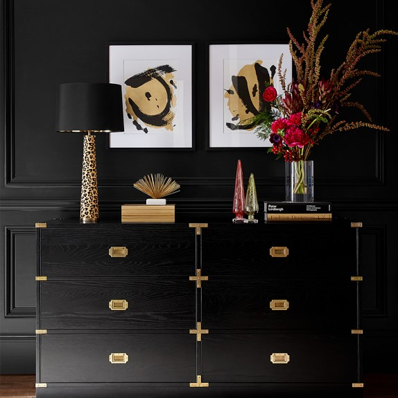 Tall Black Campaign Chest of Drawers with Brass Accents